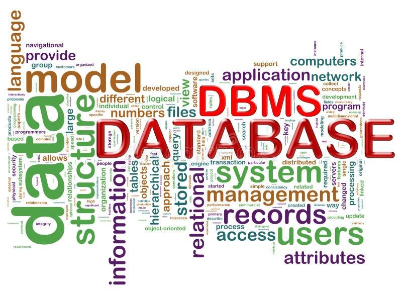 Étiquettes de mot du système de gestion de bases de données illustration stock