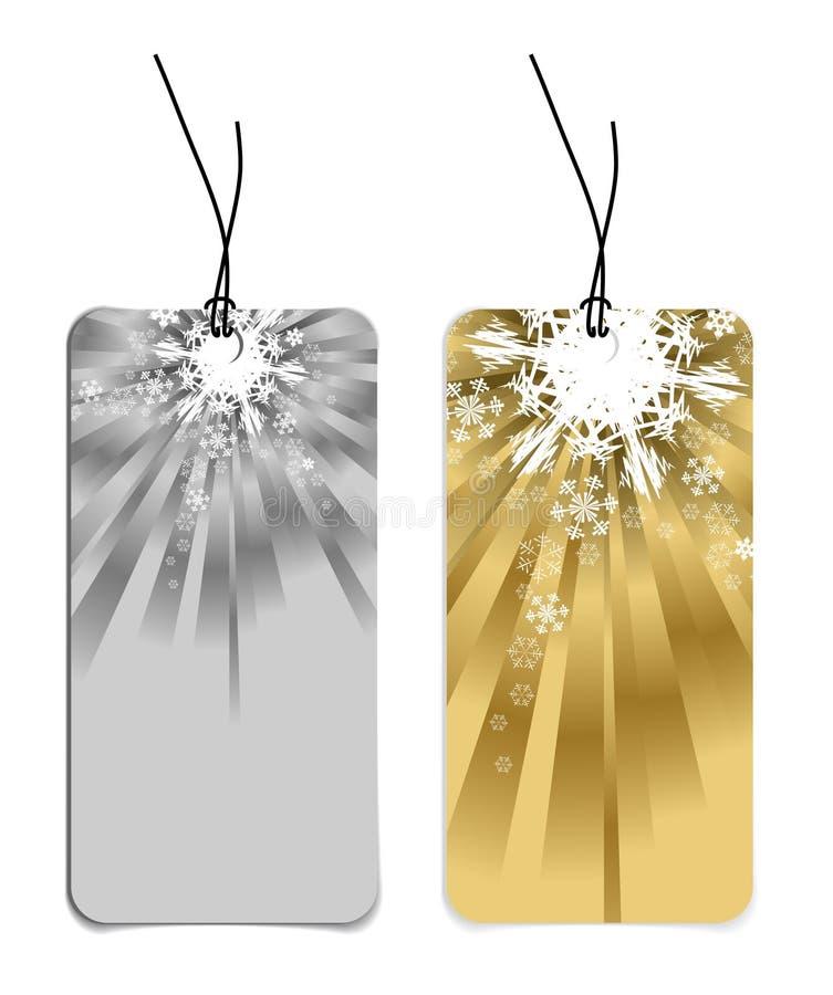 Étiquettes de Noël avec des flocons de neige illustration stock