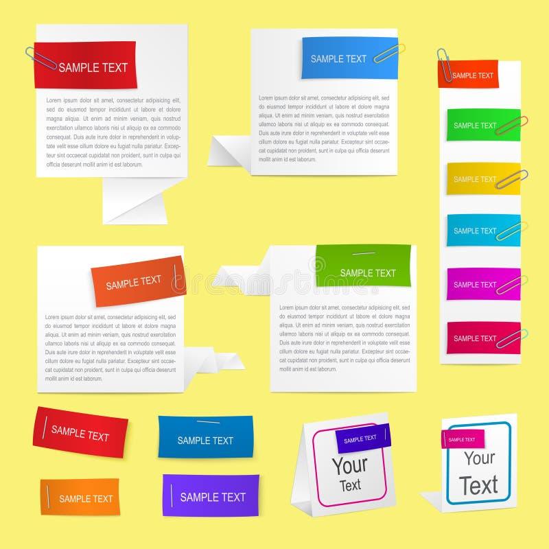 Étiquettes de papier avec des clips illustration de vecteur