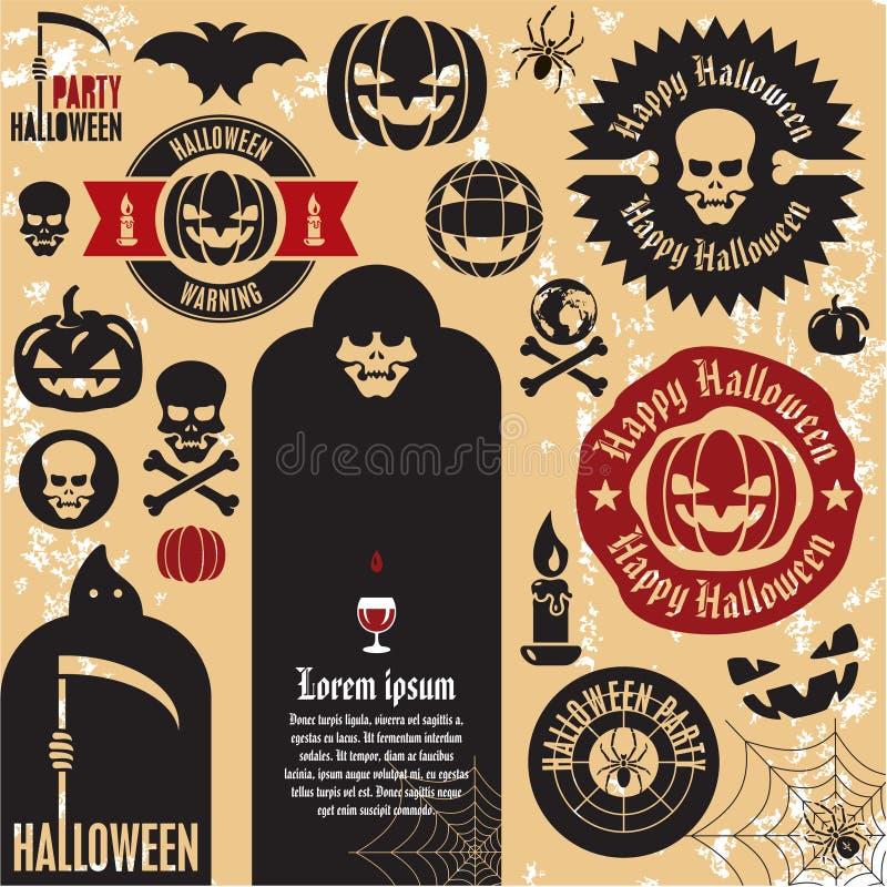Étiquettes de potiron de Veille de la toussaint illustration libre de droits