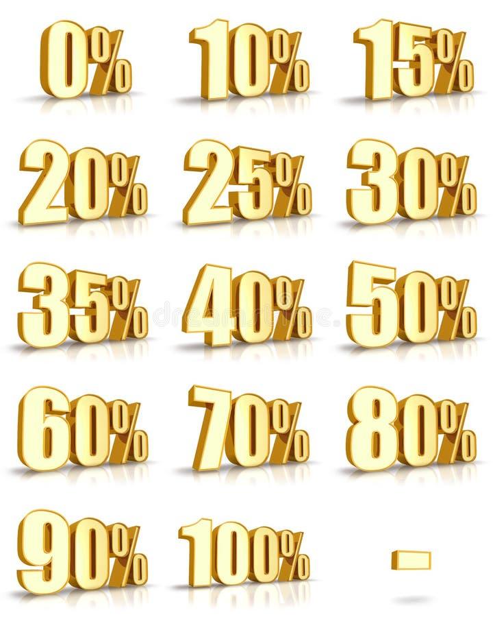 Étiquettes de pour cent d'or illustration stock