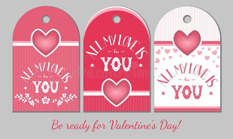 Étiquettes de présent de jour de valentines de St illustration de vecteur