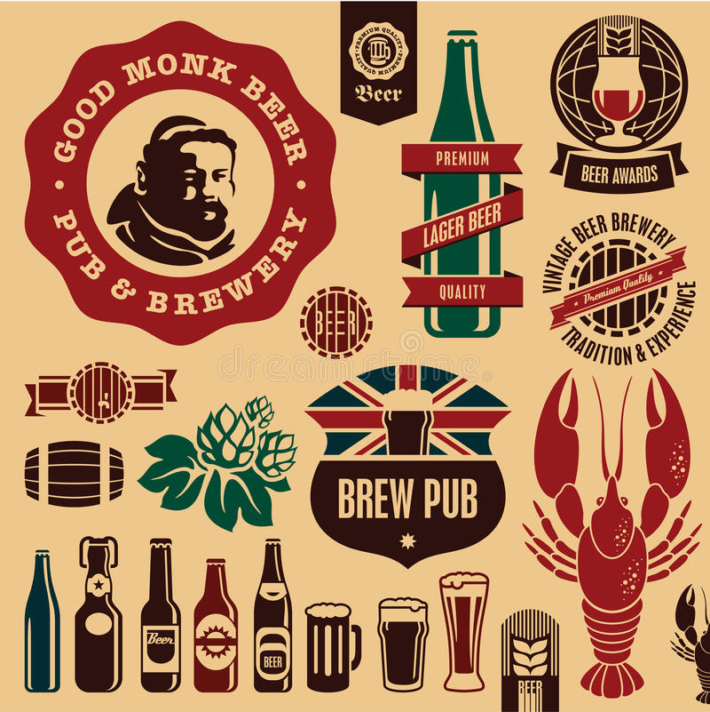 Étiquettes de pub de bière illustration libre de droits