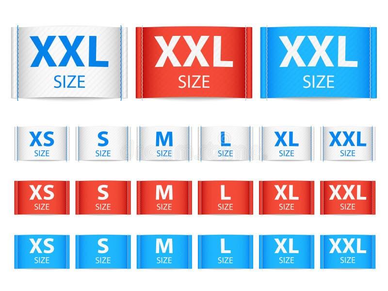 Étiquettes de ruban de tissu, label d'habillement avec la collection de vecteur de taille illustration de vecteur