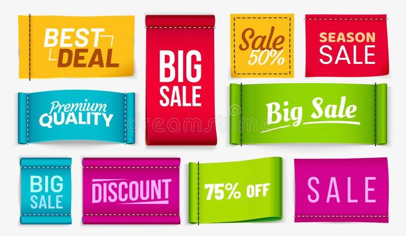 Étiquettes de vêtements de vente Étiquette de tissu à rabais, coupons à la meilleure offre Étiquette de tissus et étiquettes text illustration de vecteur