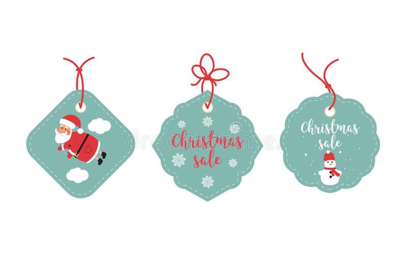 Étiquettes de vente au détail et étiquettes de dégagement Conception de fête de Noël Santa Claus, flocons de neige et bonhomme de illustration libre de droits
