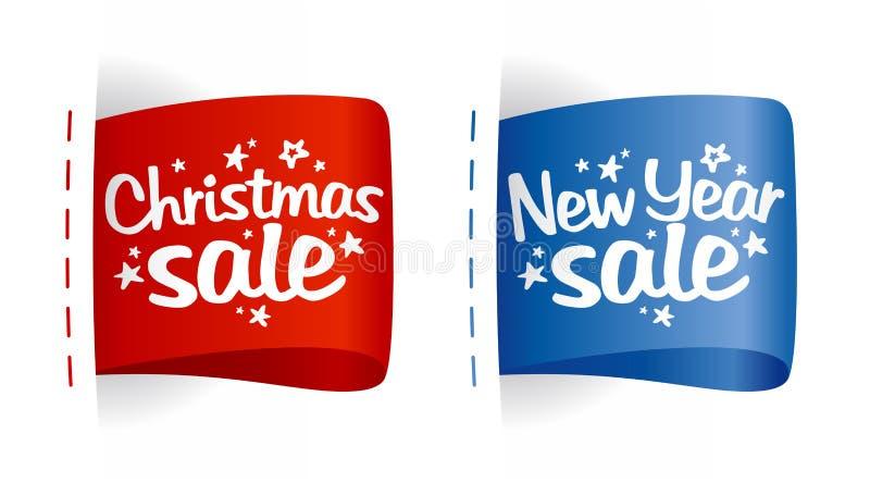 Étiquettes de vente d'an neuf et de Noël. illustration de vecteur
