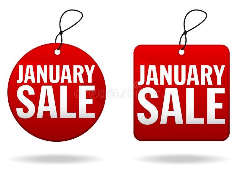 Étiquettes de vente de janvier illustration libre de droits