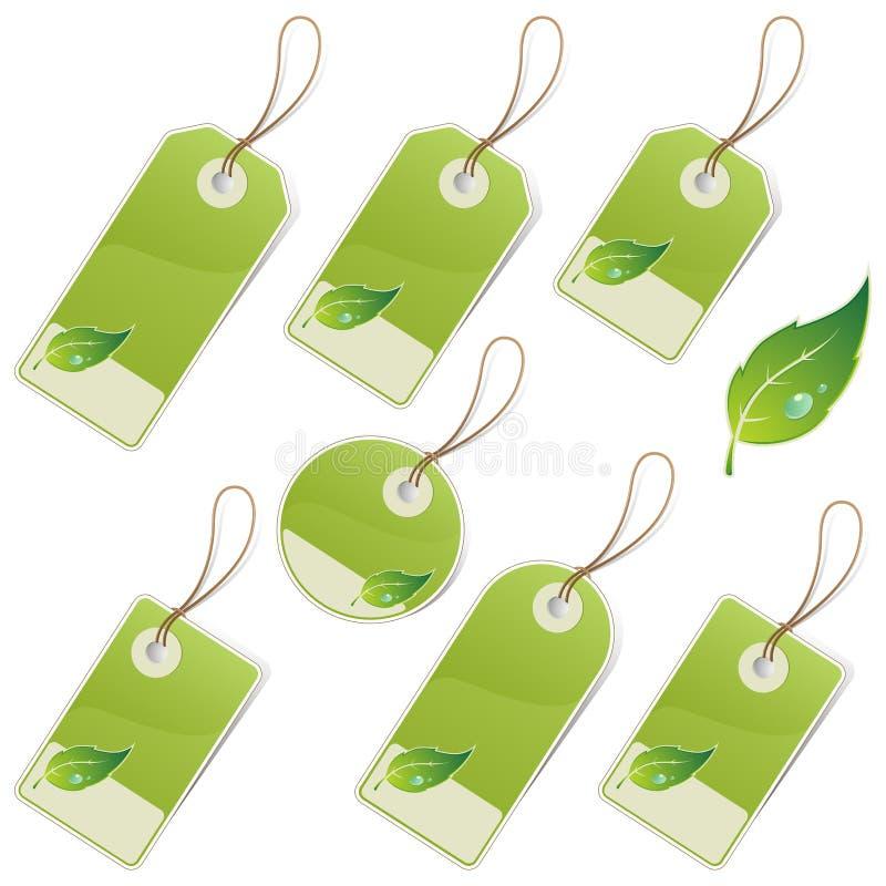 étiquettes de vert illustration stock
