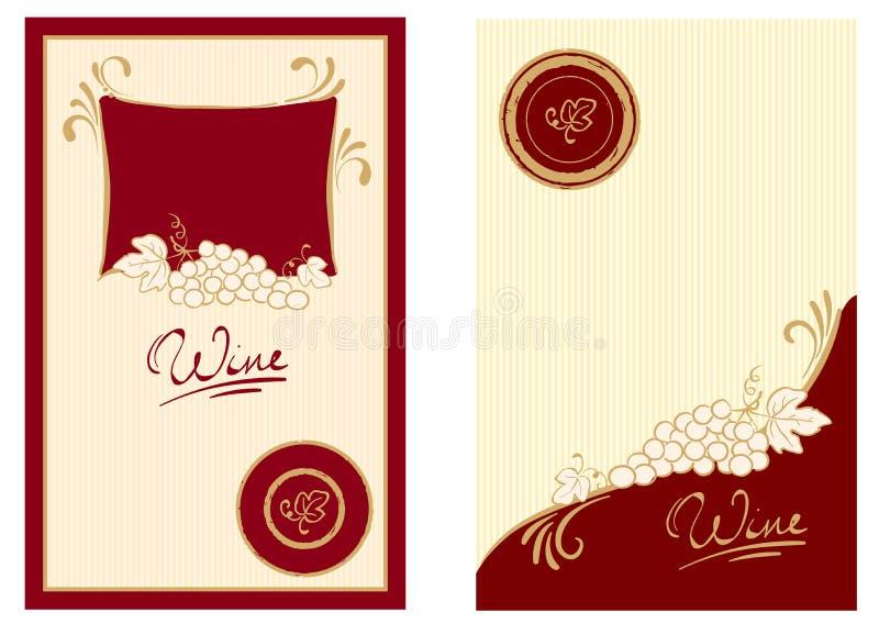 Étiquettes de vin avec des remous illustration stock