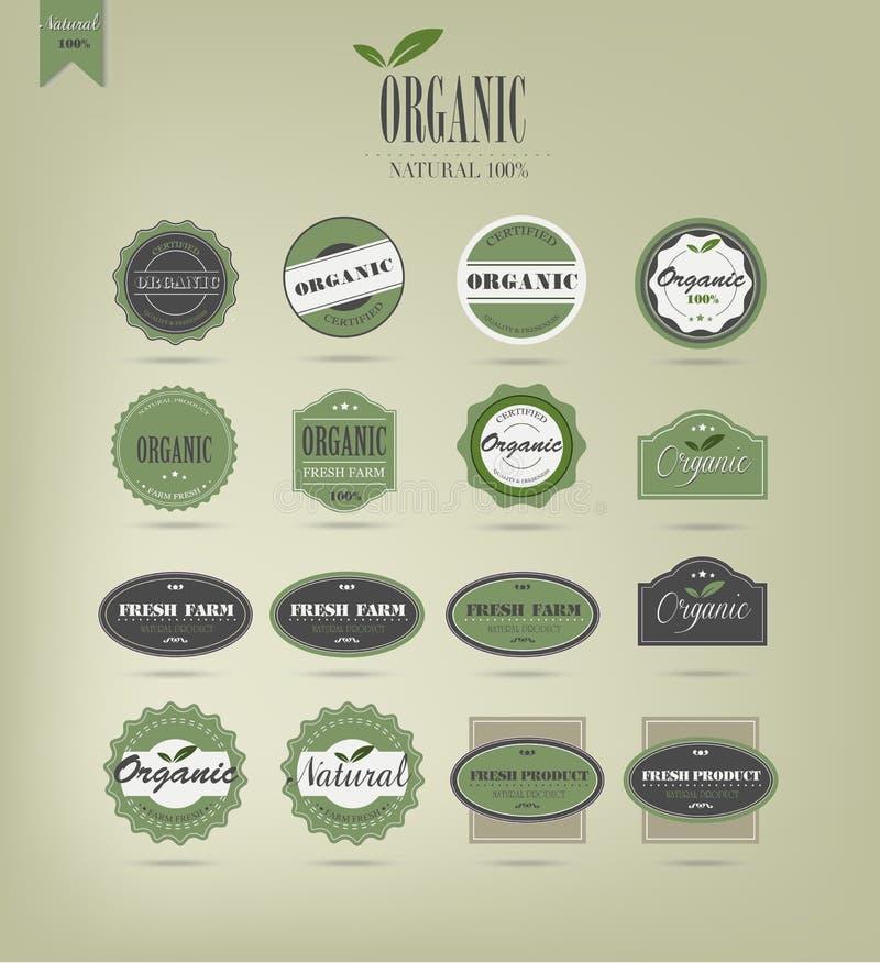 Étiquettes et éléments d'aliment biologique illustration de vecteur