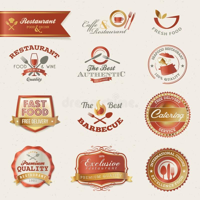 Étiquettes et éléments de restaurant illustration de vecteur