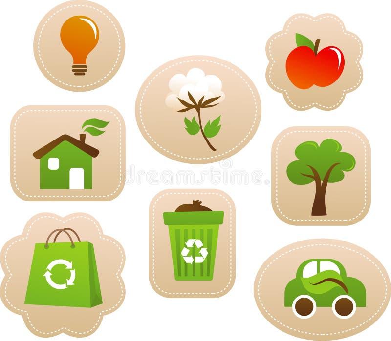 Étiquettes et étiquettes d'écologie illustration de vecteur