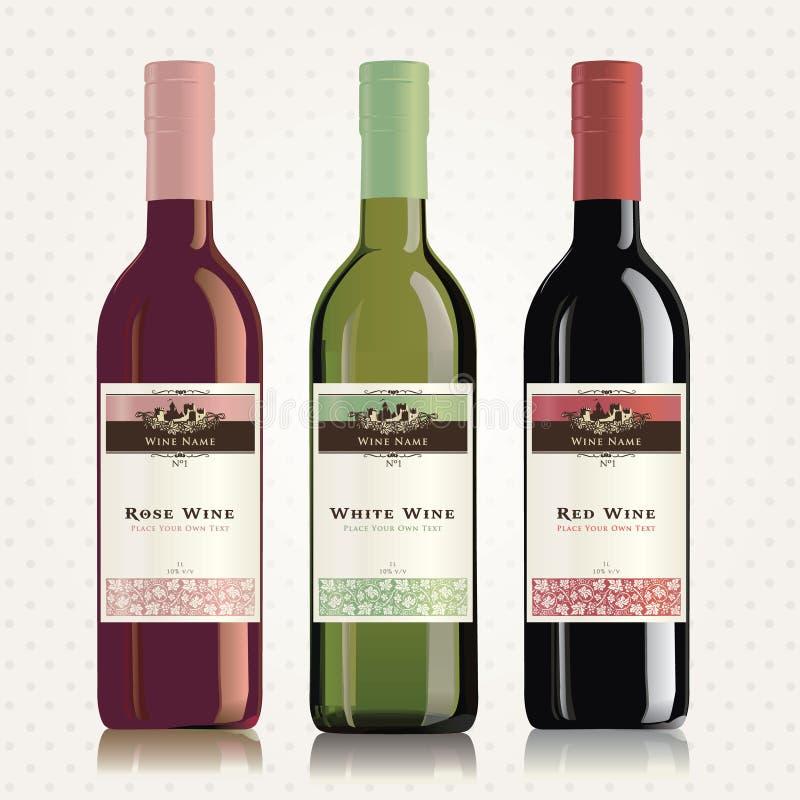Étiquettes et bouteilles de vin rouge, blanc et rosé illustration de vecteur