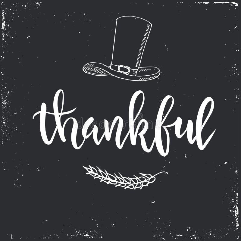 Étiquettes et cartes de cadeau de vintage de jour de thanksgiving Lettrage manuscrit illustration stock