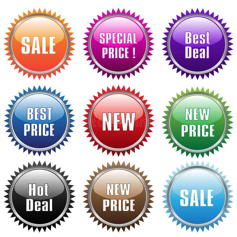Étiquettes et collants de vente illustration de vecteur