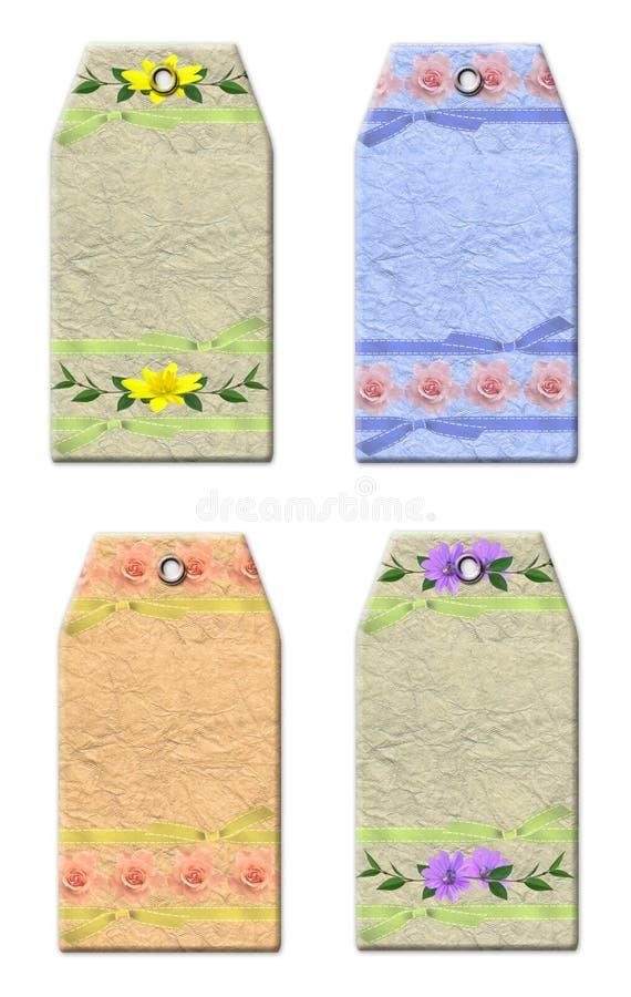 Étiquettes florales de cadeau illustration libre de droits