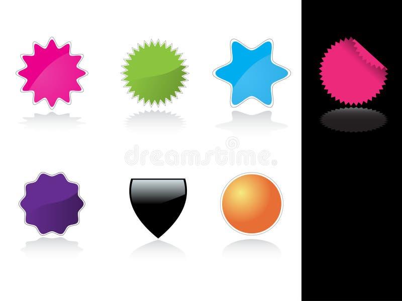 étiquettes lustrées colorées illustration stock