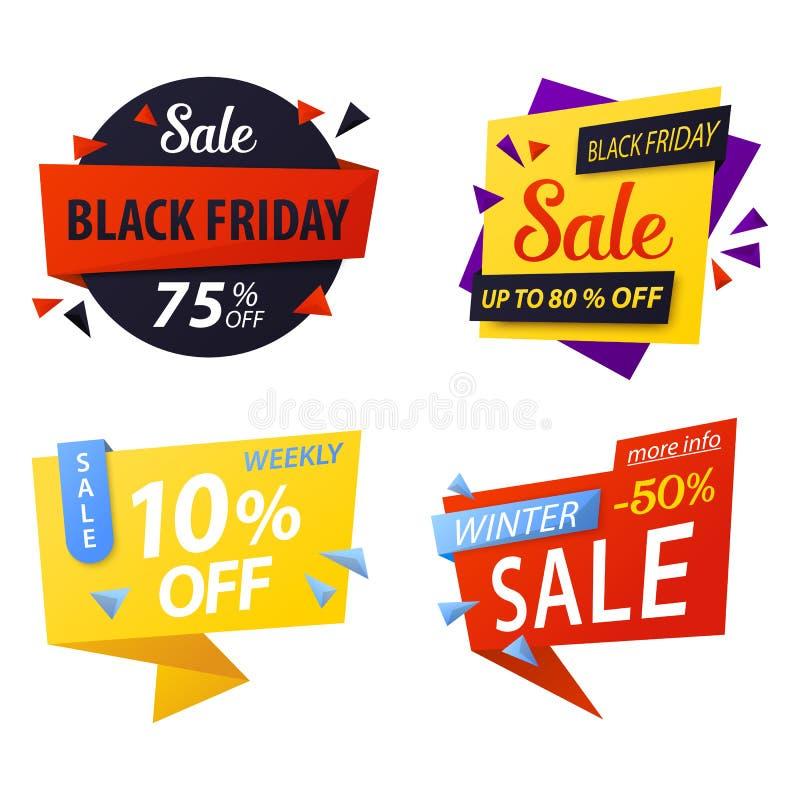 Étiquettes noires de remise des prix de vendredi à vendre illustration stock