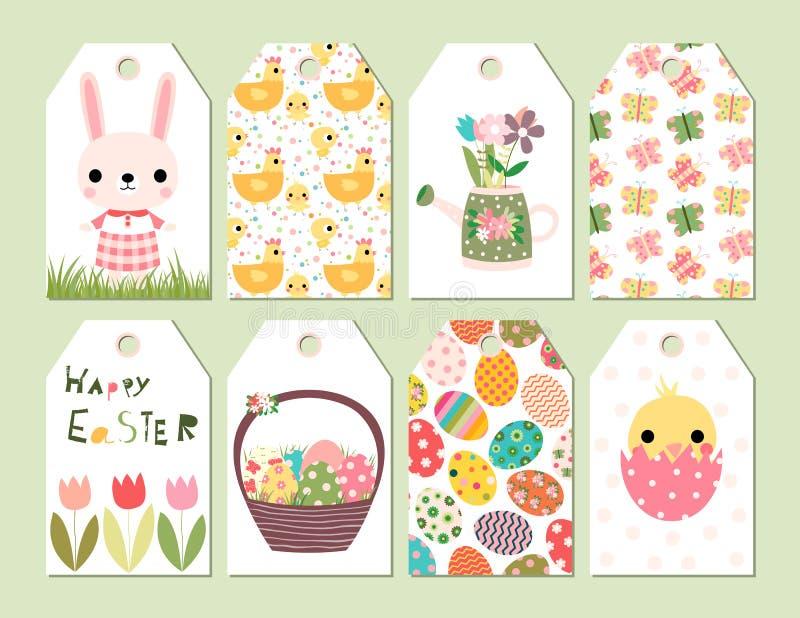 Étiquettes ou cartes heureuses de cadeau de Pâques illustration de vecteur