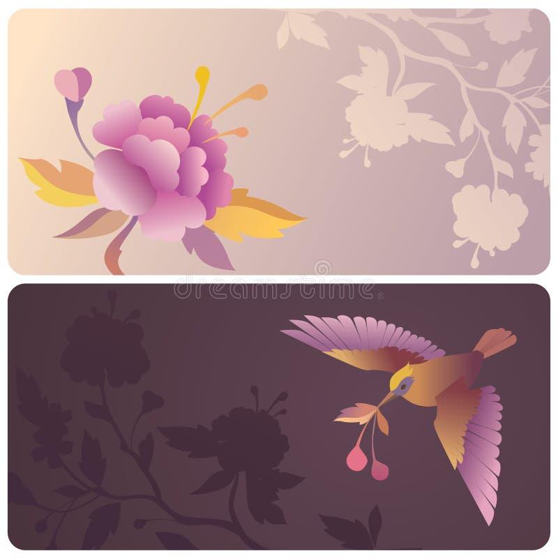 Étiquettes ou drapeaux avec l'oiseau et la fleur illustration libre de droits
