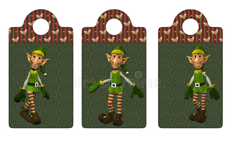 Étiquettes ou signets d'elfe de Noël illustration stock