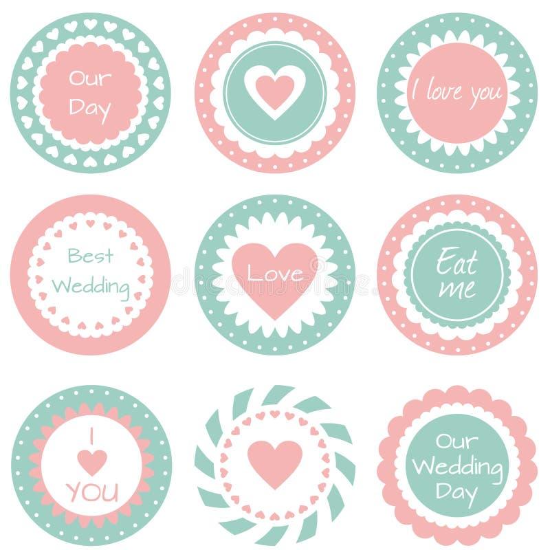 Étiquettes pour épouser illustration de vecteur