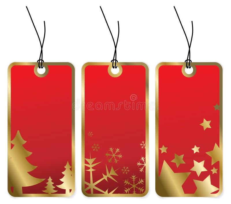 Étiquettes rouges de Noël avec les cadres d'or illustration de vecteur