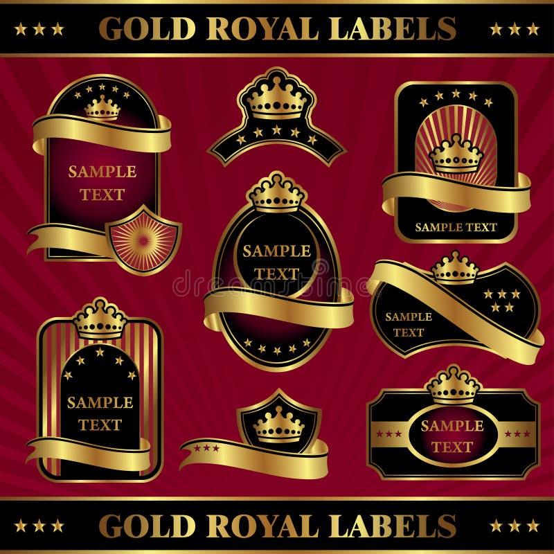 Étiquettes royales d'or illustration stock