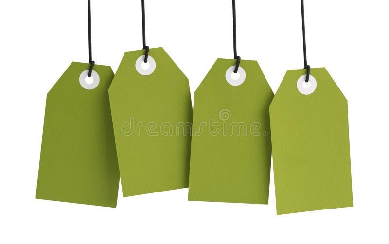 Étiquettes vertes photos stock