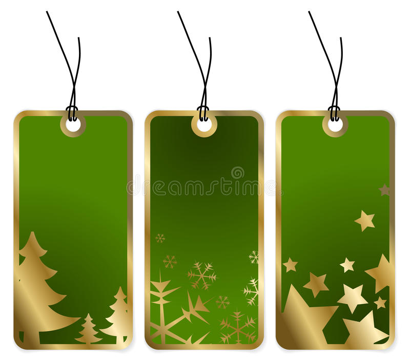 Étiquettes vertes de Noël illustration de vecteur