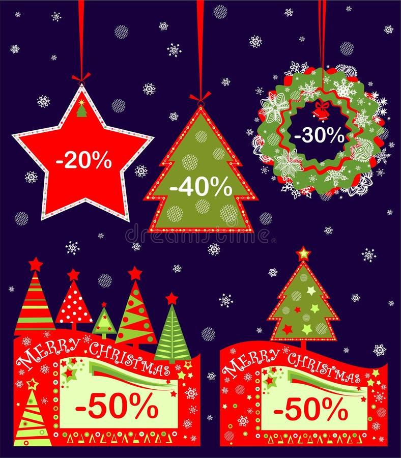 Étiquettes vertes rouges de Noël en vente d'hiver avec les sapins et l'étoile abstraits coupés de papier Conception plate illustration libre de droits
