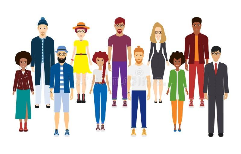 Étnico diverso de la muchedumbre grande La gente joven se est? colocando hombro con hombro con uno a Diversos estilos de la ropa libre illustration