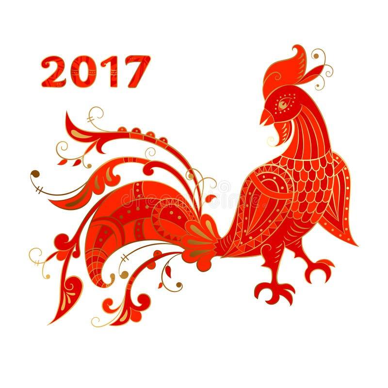 Étnico estilizado del gallo rojo stock de ilustración