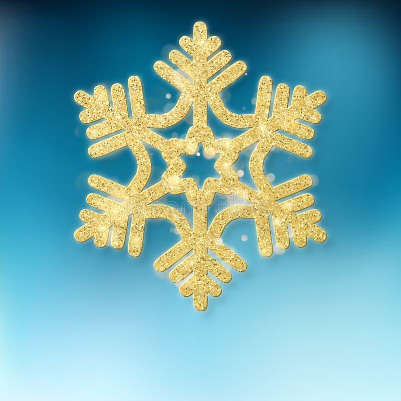 Étoile éclatante d'or ornementale de décoration d'arbre de Noël sur le fond bleu ENV 10 illustration libre de droits