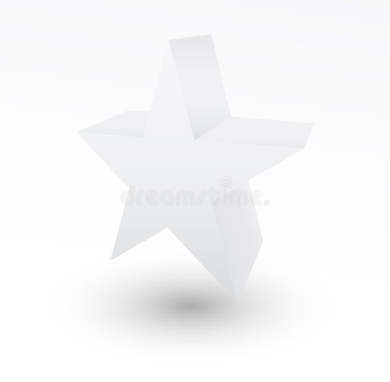 étoile 3D blanche sur le fond blanc illustration stock