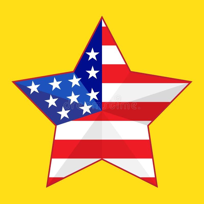 Étoile avec le drapeau de l'Amérique Rouge et bleu sur un fond jaune Étoile américaine LES Etats-Unis le 4ème juillet patriotisme illustration libre de droits