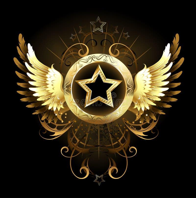 Étoile avec les ailes d'or illustration libre de droits