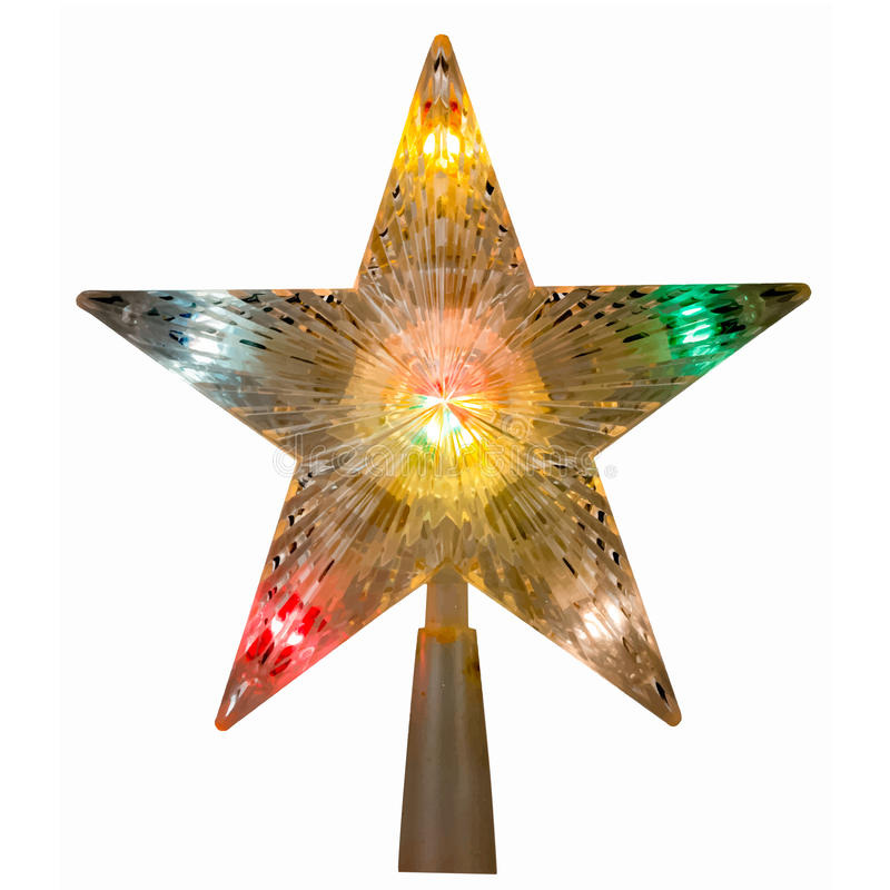 Étoile avec les lumières colorées images libres de droits