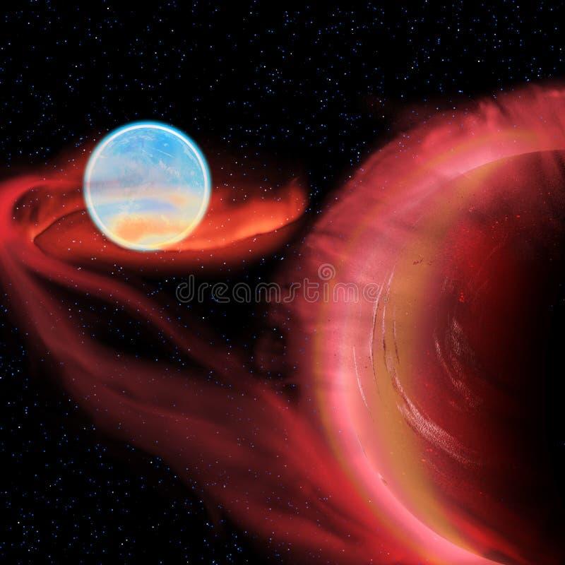 Étoile binaire d'un rouge ardent illustration stock