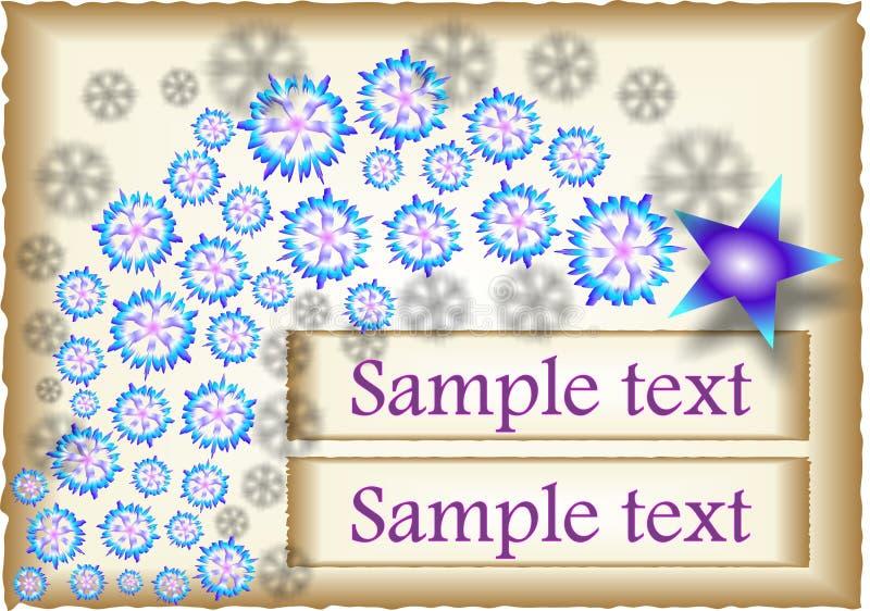 Étoile bleue avec des flocons de neige illustration de vecteur