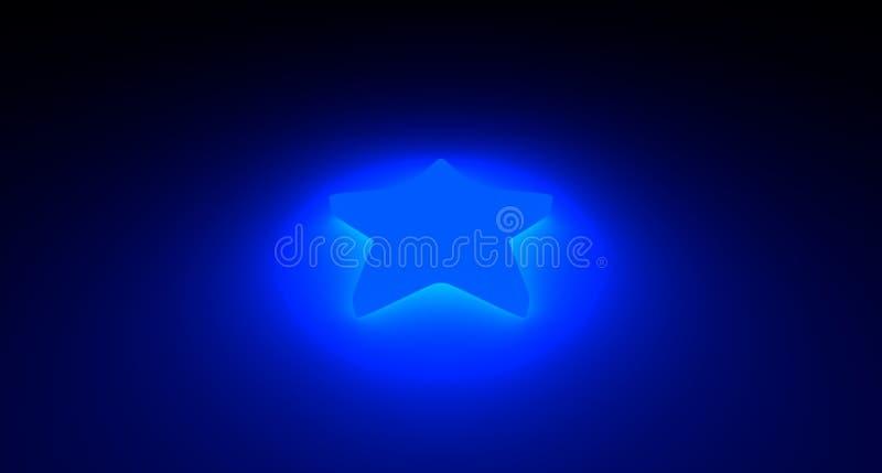 Étoile bleue avec l'illumination au néon image stock
