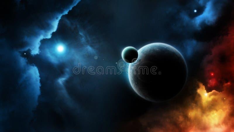 Étoile bleue de système de planète dans l'espace lointain illustration stock
