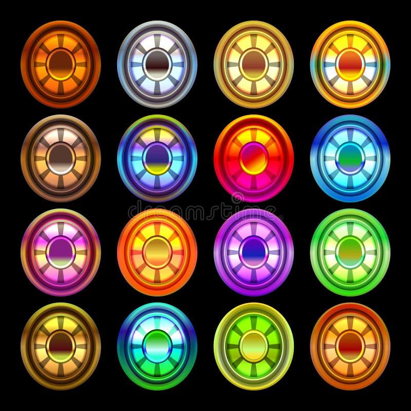 Étoile brillante et lumineuse, arrondie, ensemble de gemme d'hexagone dans le vecteur (d'isolement) illustration de vecteur