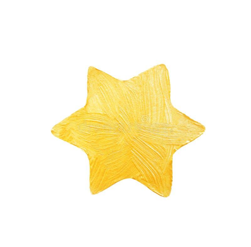 Étoile Cinq-aiguë d'or de peinture décorative avec des étincelles or photographie stock libre de droits