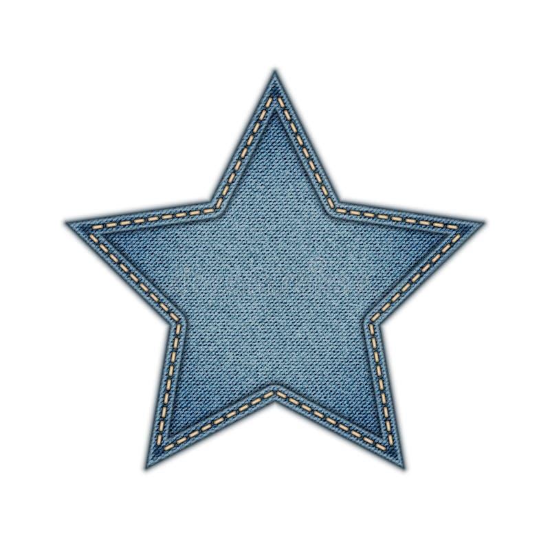 Étoile d'étiquette de jeans d'isolement sur le fond blanc illustration libre de droits