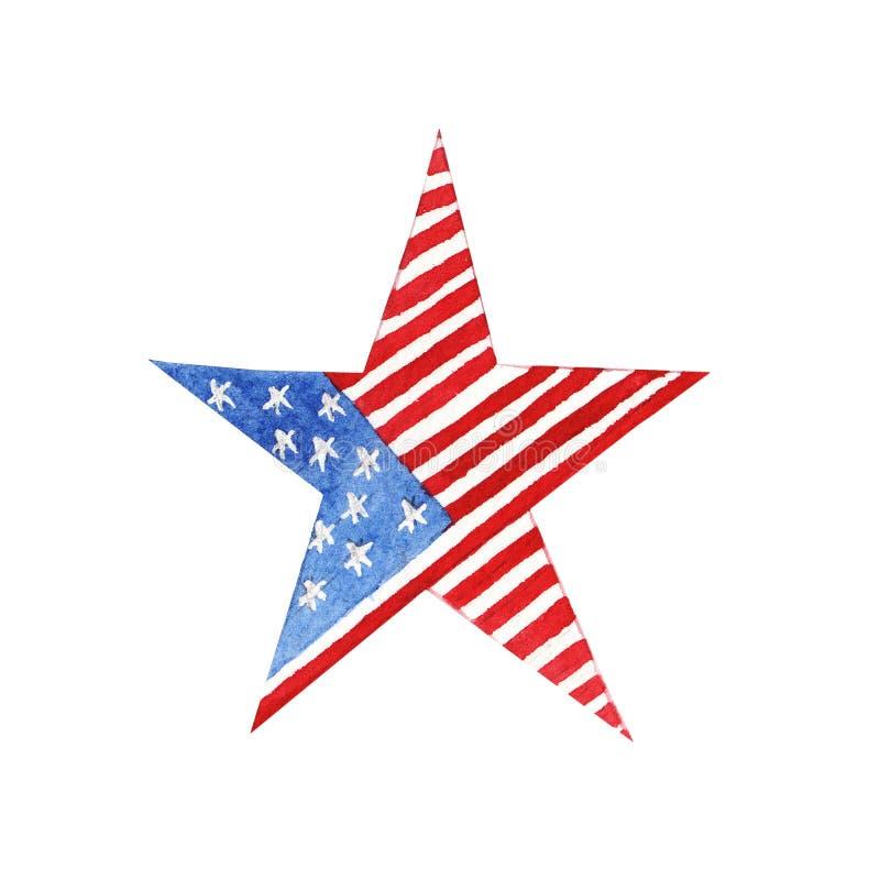 Étoile d'aquarelle avec le drapeau américain illustration stock