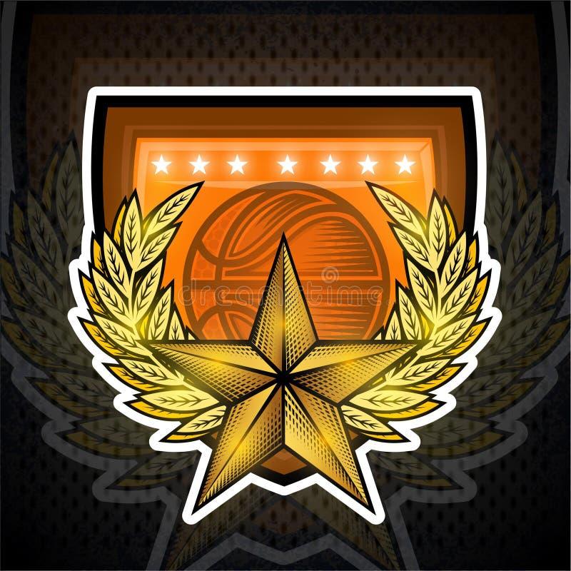 ?toile d'or avec la guirlande de laurier au centre sur le bouclier avec la boule de basket-ball Logo de sport pour toute ?quipe illustration de vecteur