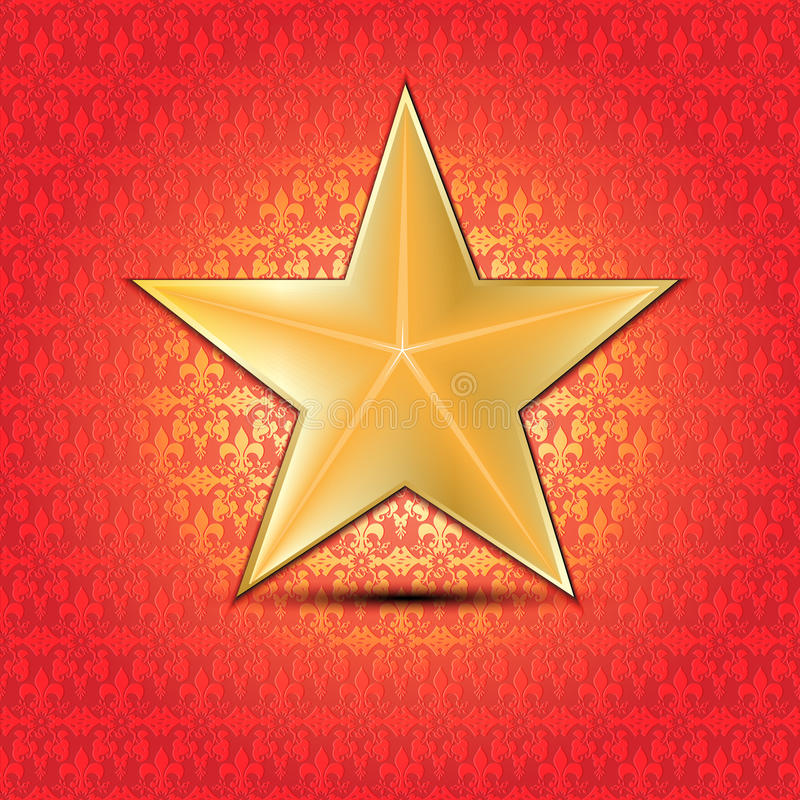 Étoile d'or avec le fond floral illustration stock