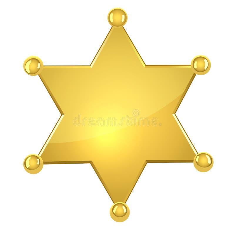 Étoile d'or blanc de shérif illustration stock